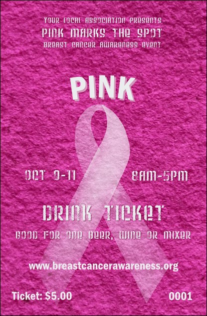 Breast Cancer Pink Ribbon Drink Ticket