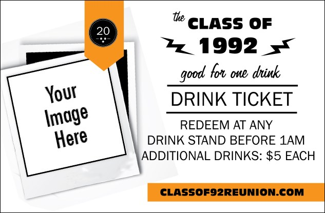 Class Reunion Mascot Orange Drink Ticket