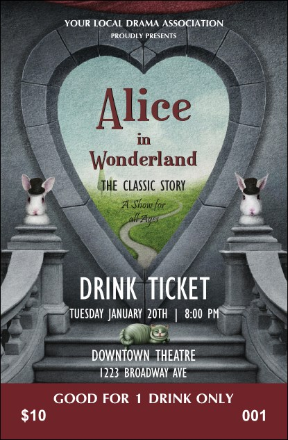 Alice in Wonderland Drink Ticket