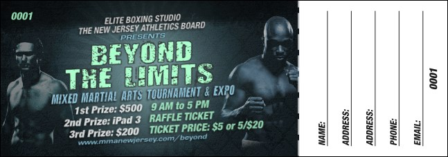 MMA Main Event Raffle Ticket (Blue) Product Front